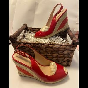 Marc fisher red peep toe wedges size 6